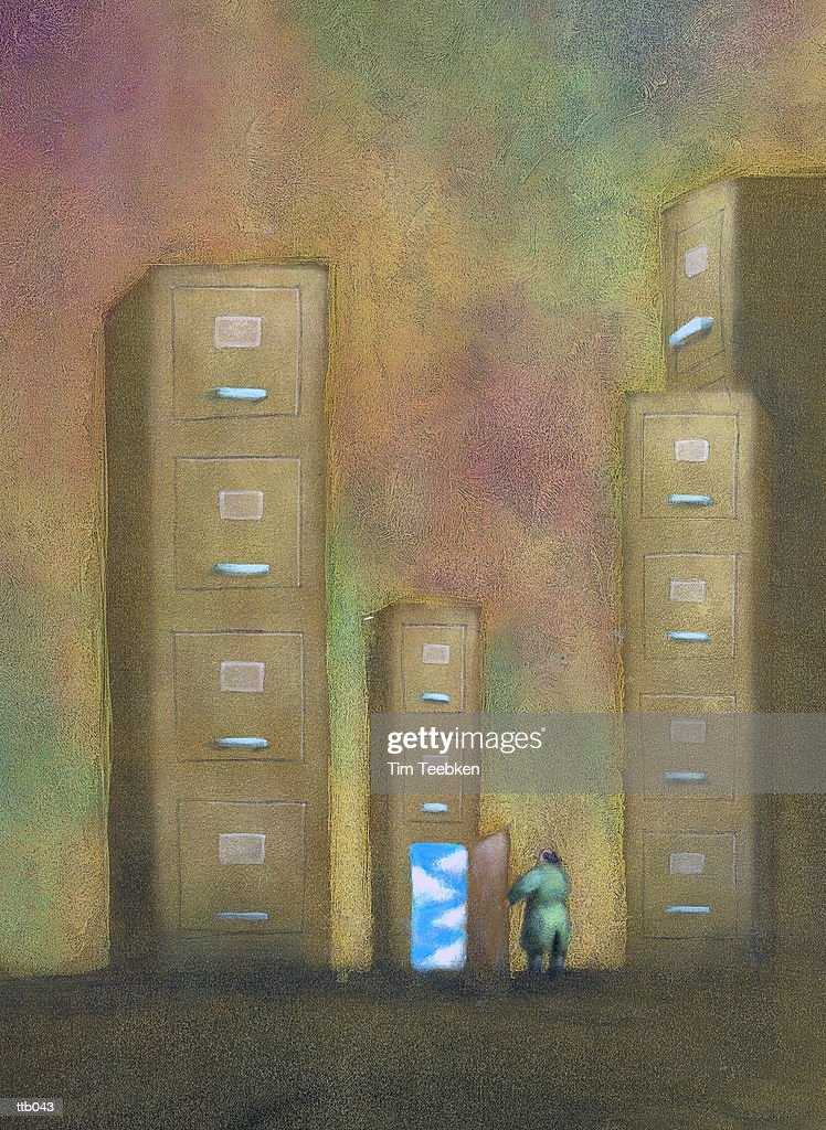 Entering File Cabinet Towers : Stockillustraties