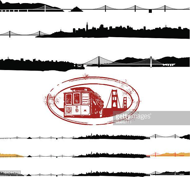 entire sf - oakland california skyline stock illustrations