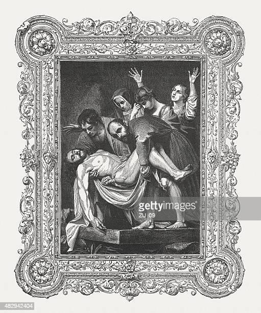 illustrazioni stock, clip art, cartoni animati e icone di tendenza di entombment di cristo caravaggio (italiano pittore), pubblicato in 1878 - michelangelo merisi da caravaggio