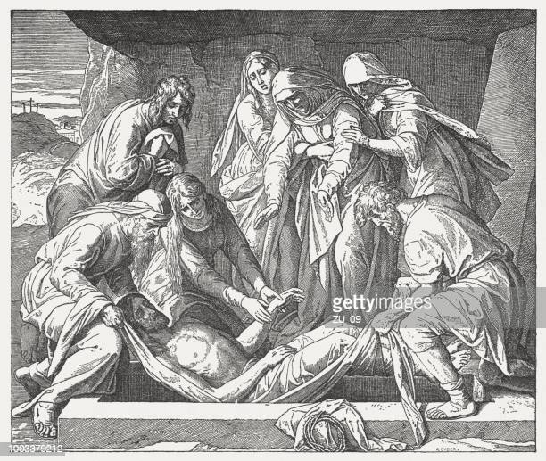 Entombment of Christ (Mark 15, 42-47), wood engraving, published 1890