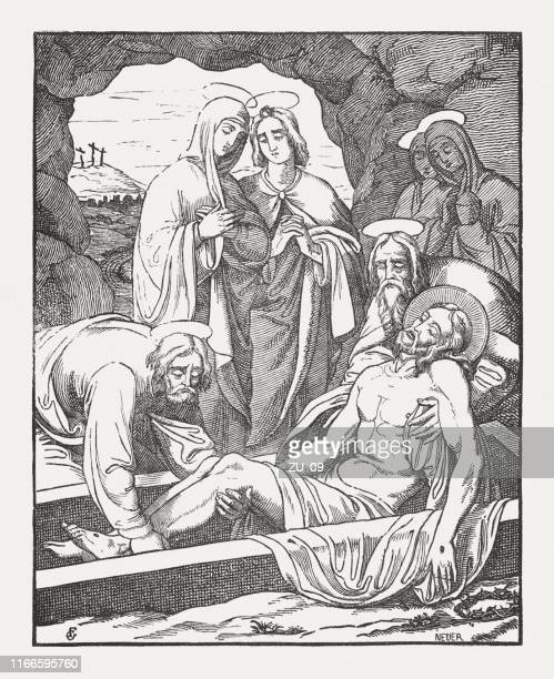 entombment of jesus, wood engraving, published in 1850 - holy week stock illustrations, clip art, cartoons, & icons