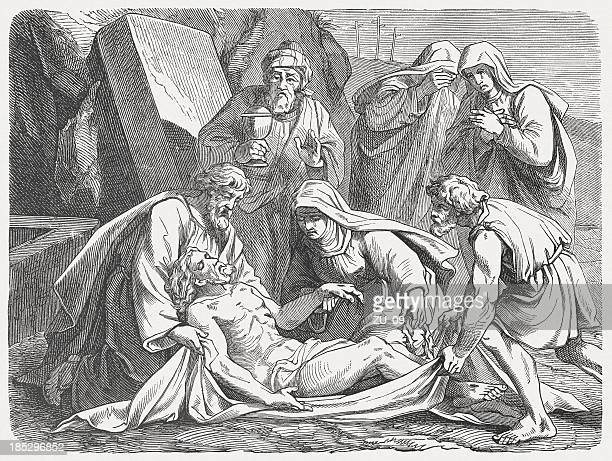entombment (matthew 27, 57-61), wood engraving, published in 1877 - holy week stock illustrations, clip art, cartoons, & icons