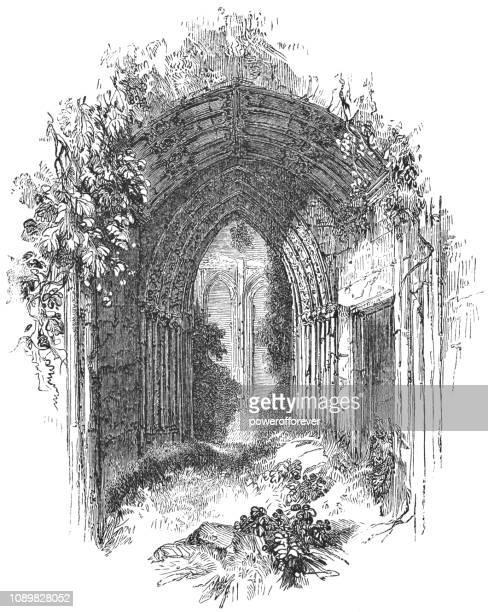 entrance to john of gaunt's great hall at kenilworth castle in kenilworth, england - ellis island stock illustrations, clip art, cartoons, & icons