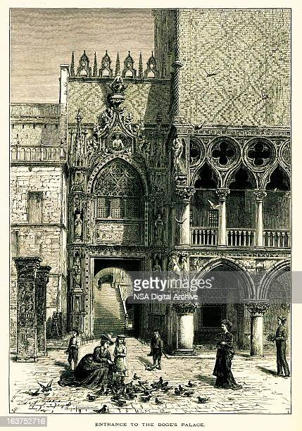 Entrance to the Doge's Palace, Venice, Italy, wood engraving (18