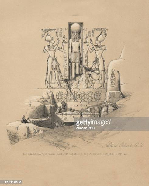 entrance to the great temple of abu simbel, egypt - nubia stock illustrations, clip art, cartoons, & icons