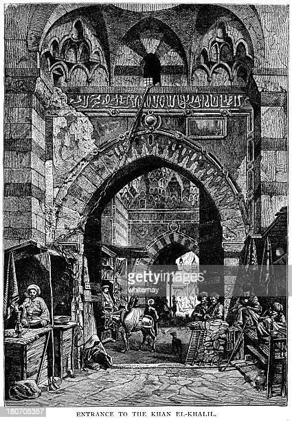 ilustraciones, imágenes clip art, dibujos animados e iconos de stock de entrada khan el-khalili, el cairo, egipto - puesto de mercado