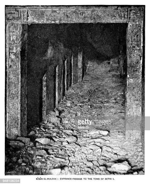 entrance to the tomb of sethi i - thebes egypt stock illustrations