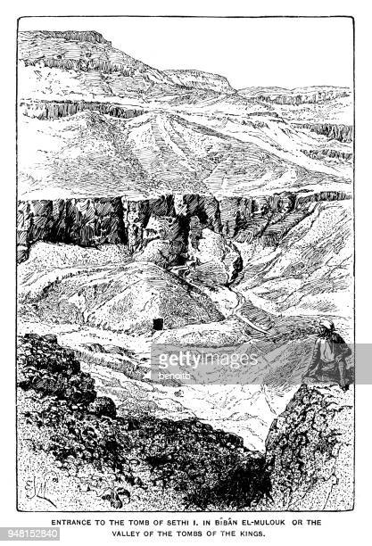 entrance to the tomb of sethi i in the valley of the kings - thebes egypt stock illustrations