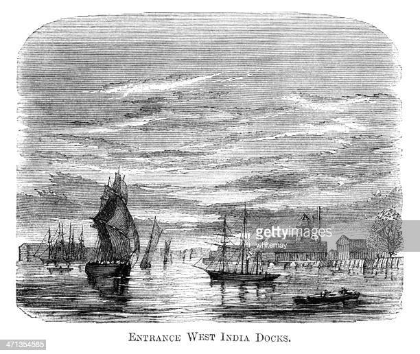 Entrance to West India Docks, London (1871 engraving)