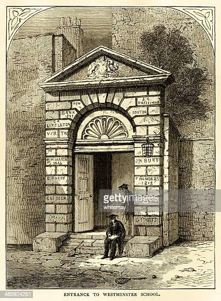 entrance to westminster school (burlington's arch) - pediment stock illustrations, clip art, cartoons, & icons