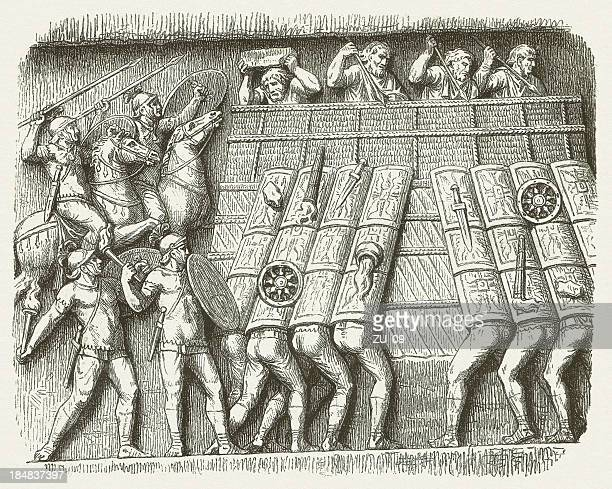 entrenchment of germanics attacked of roman soldiers, ancient bas-relief - relief carving stock illustrations