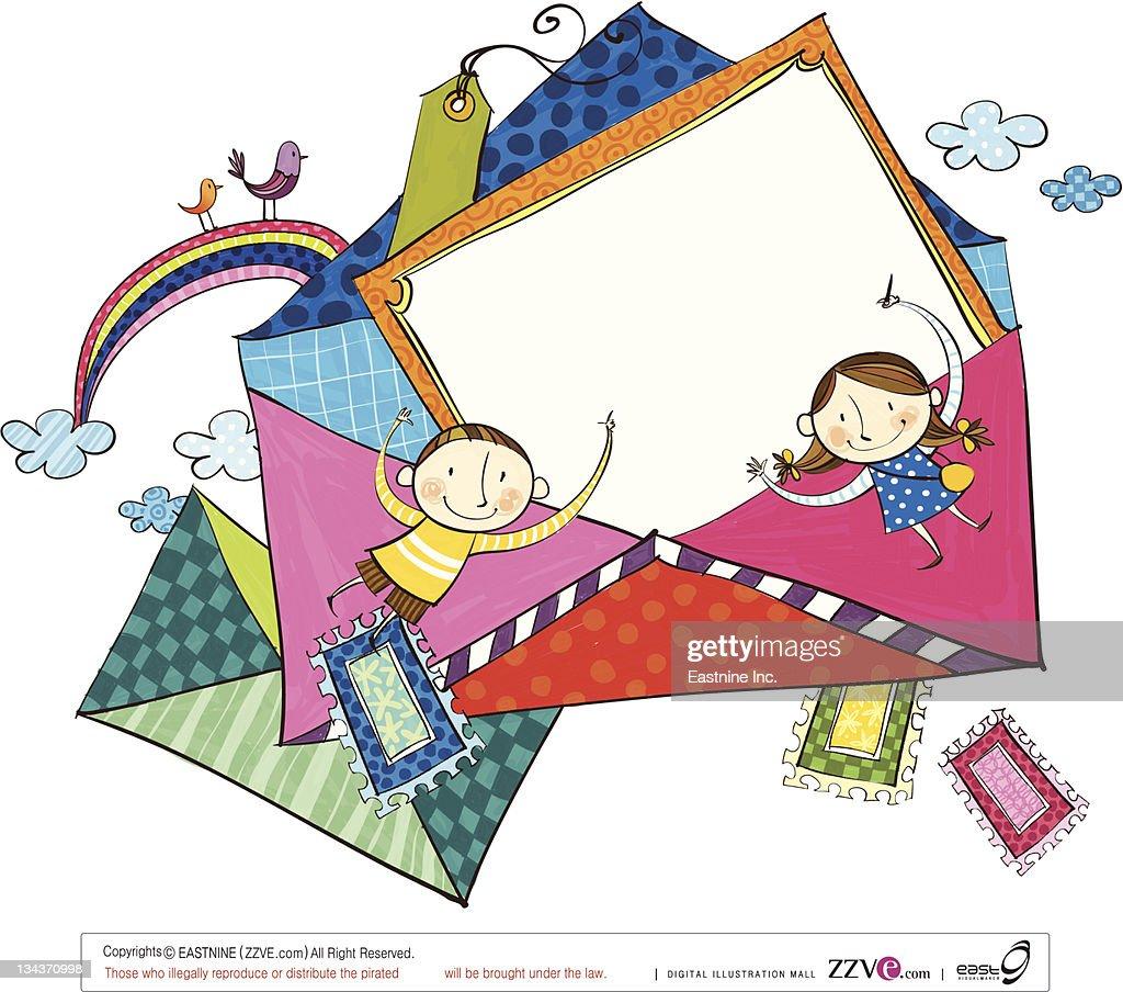 Envelopes for children : stock illustration