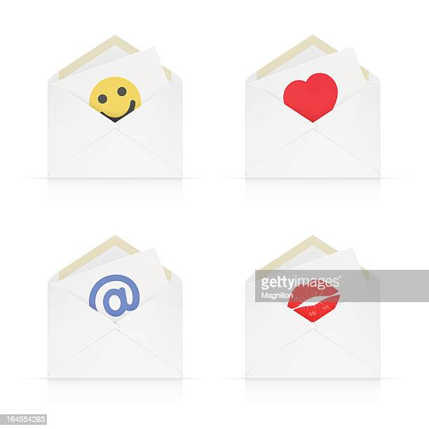 envelopes with messages - lip liner stock illustrations, clip art, cartoons, & icons