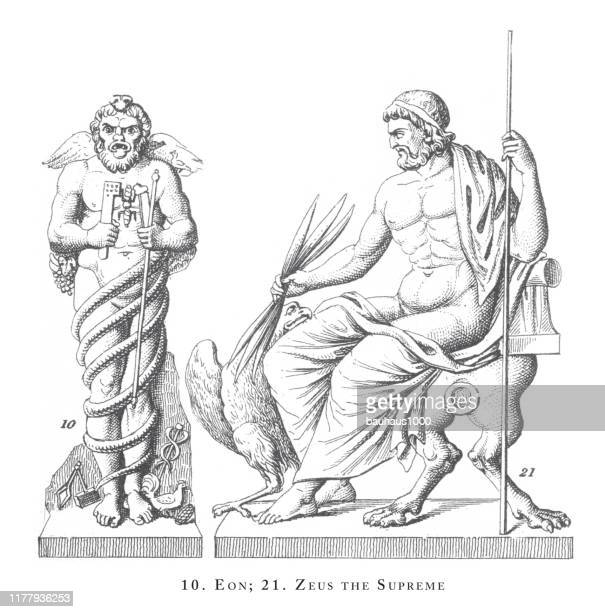 eon, zeus the supreme, sacred rites, religious and mythological symbols and religious paraphernalia of greece and romeengraving antique illustration, published 1851 - aphrodite stock illustrations, clip art, cartoons, & icons