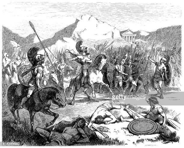 epaminondas' echelon formation in the battle of leuctra (371 bc) - sparta greece stock illustrations, clip art, cartoons, & icons