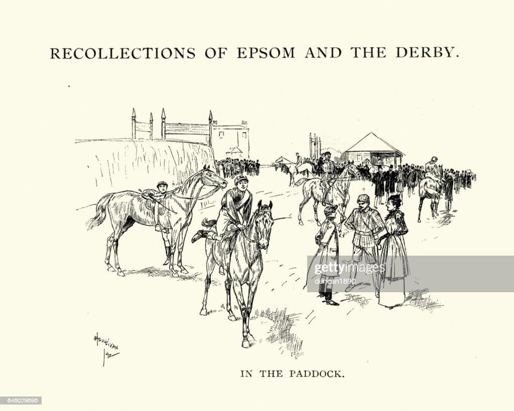 Epsom Derby horses in the Paddock, 1892 : stock illustration
