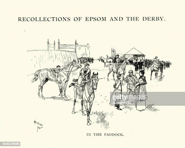 epsom derby horses in the paddock, 1892 - paddock stock illustrations, clip art, cartoons, & icons