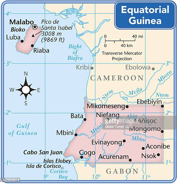 equatorial guinea country map - equatorial guinea stock illustrations