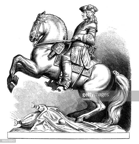 equestrian statue of prince eugene of savoy at vienna - auvergne rhône alpes stock illustrations, clip art, cartoons, & icons