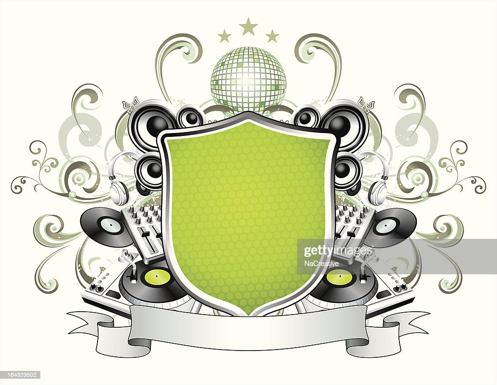 DJ Equipment And Swirls Music Illustration Vector Art