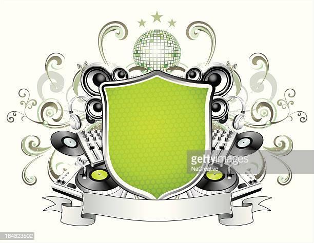 DJ equipment and swirls music illustration