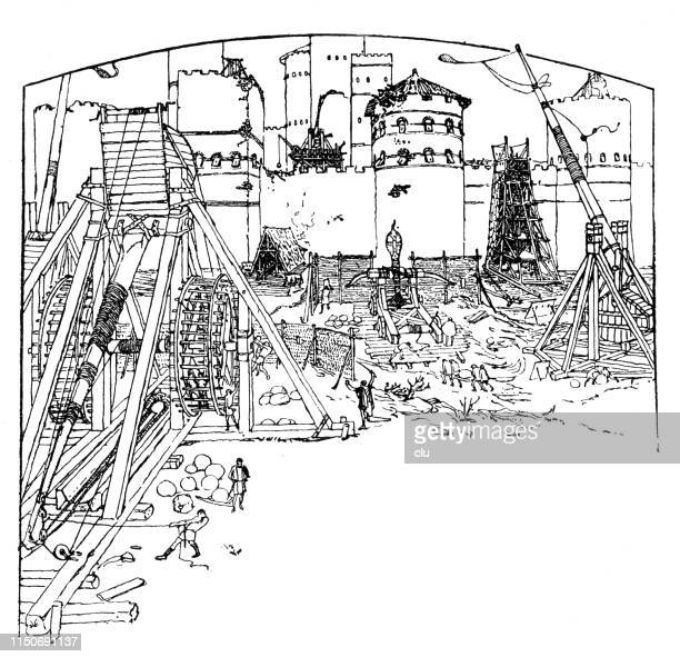 equipment and weapons for the attack on a castle - erection stock illustrations, clip art, cartoons, & icons