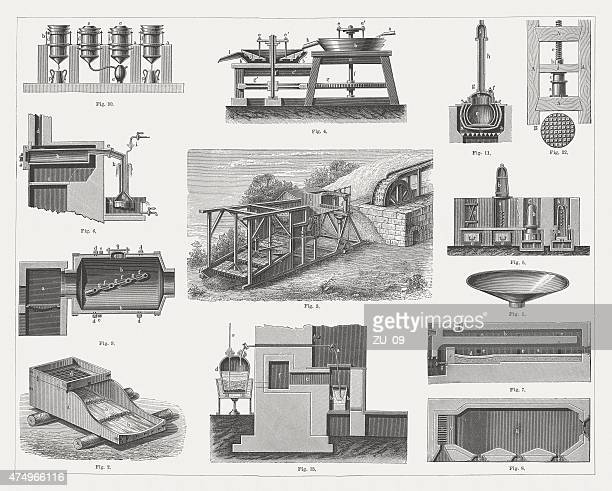 equipment for the gold mining, wood engravings, published 1876 - chlorine stock illustrations