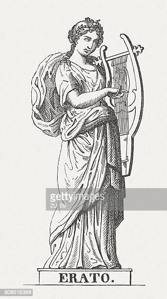 erato, greek muse, wood engraving, published in 1878 - artist's model stock illustrations, clip art, cartoons, & icons