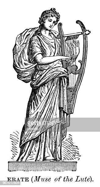 erato, muse of the lute - artist's model stock illustrations, clip art, cartoons, & icons