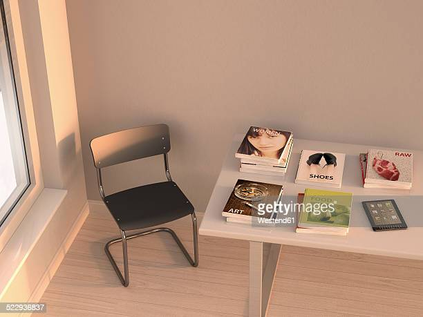 E-reader and books lying on a table, 3D Rendering