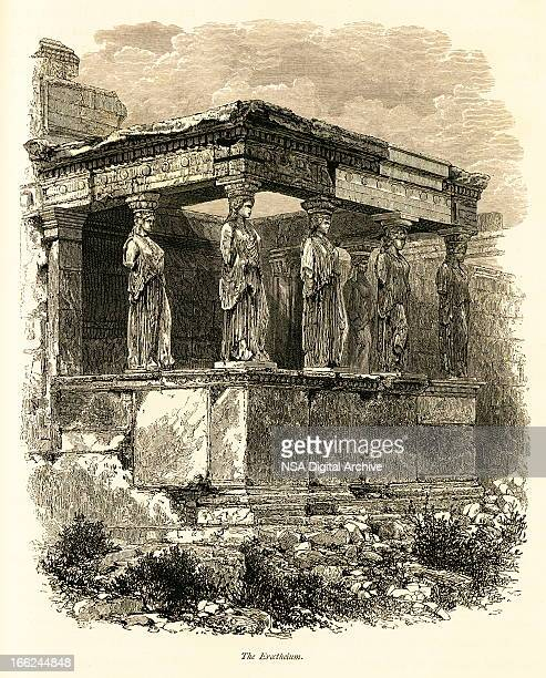 erechtheion, athens, greece (antique wood engraving) - classical greek style stock illustrations