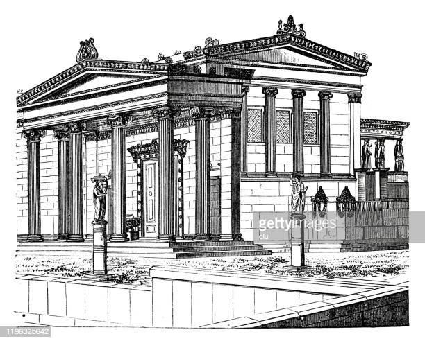 erechtheum temple - greek statue stock illustrations