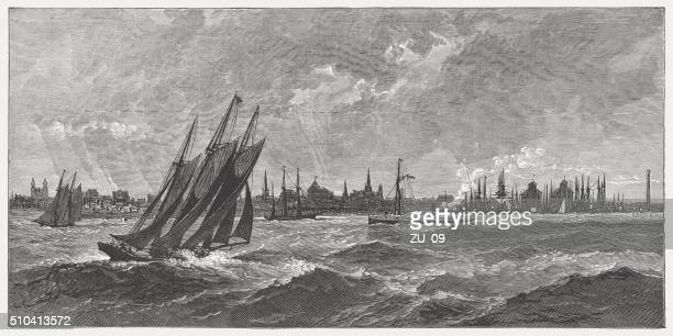 erie and lake erie, wood engraving, published in 1880 - lake erie stock illustrations, clip art, cartoons, & icons