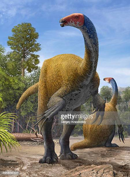 Erlikosaurus andrewsi dinosaurs in a prehistoric environment from the Late Cretaceous Period.