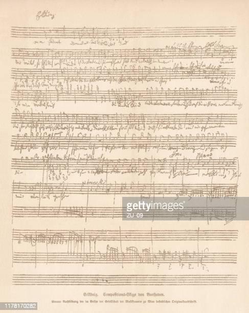 ilustraciones, imágenes clip art, dibujos animados e iconos de stock de erlk-nig, boceto de composición de ludwig van beethoven, facsímil, publicado en 1885 - ludwig van beethoven