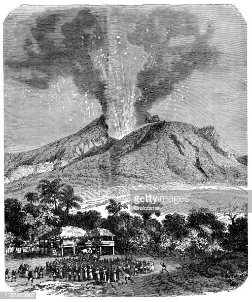 eruption of mount pelée on the island martinique - martinique stock illustrations