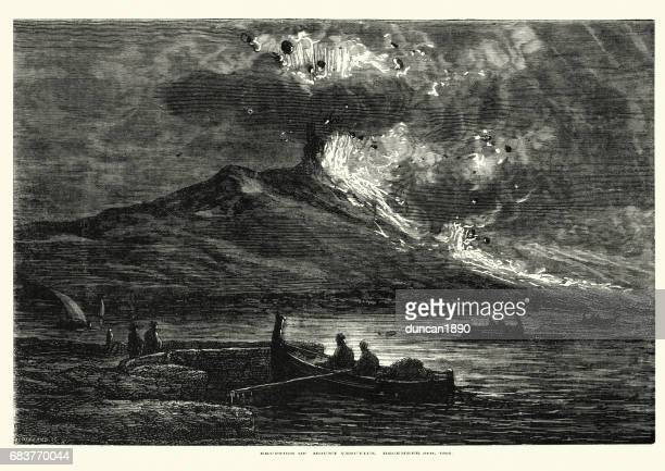 eruption of mount vesuvius december 8th, 1861 - volcano stock illustrations, clip art, cartoons, & icons
