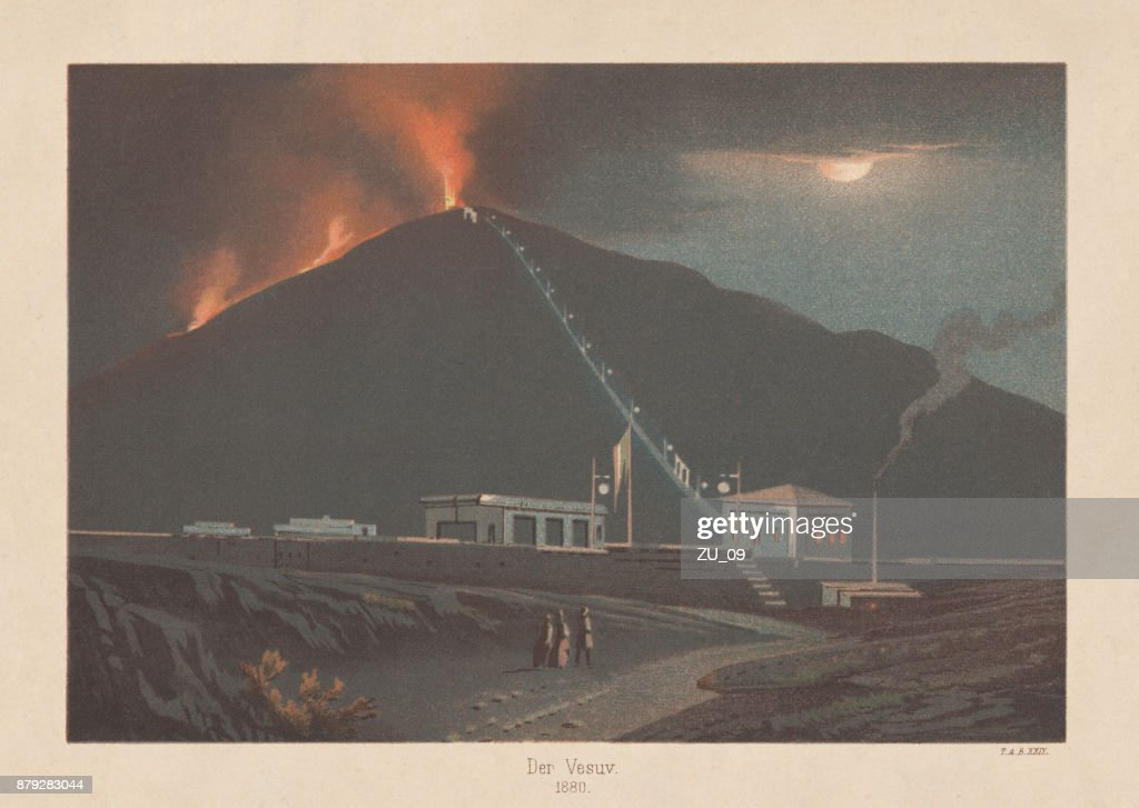Eruption of Mount Vesuvius in 1880, lithograph, published in 1883 : stock illustration