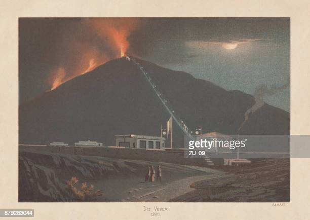 eruption of mount vesuvius in 1880, lithograph, published in 1883 - lava stock illustrations, clip art, cartoons, & icons