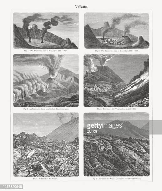 eruptions of etna and vesuvius, italy, wood engravings, published 1897 - mt vesuvius stock illustrations, clip art, cartoons, & icons