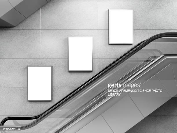 escalator and small billboards, illustration - escalator stock illustrations