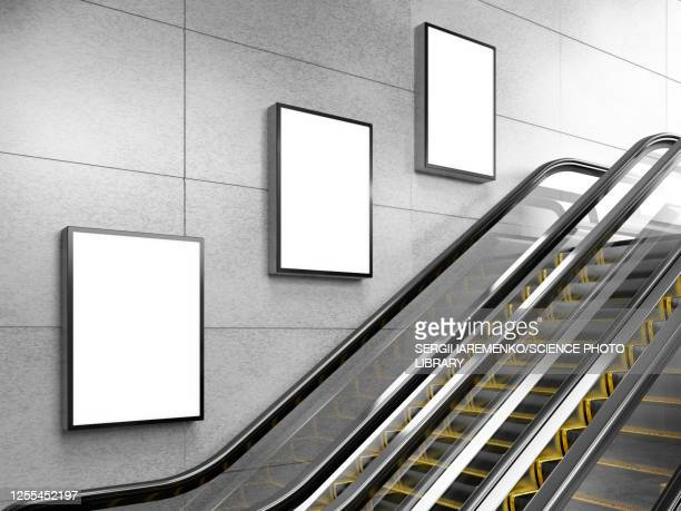 escalator and small billboards, illustration - no people stock illustrations