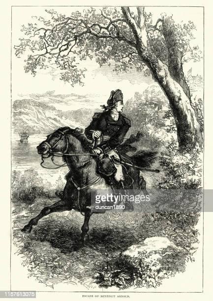 ilustrações, clipart, desenhos animados e ícones de fuga de benedict arnold, guerra revolucionária americana - american revolution