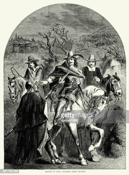 escape of king charles - cavalier cavalry stock illustrations, clip art, cartoons, & icons