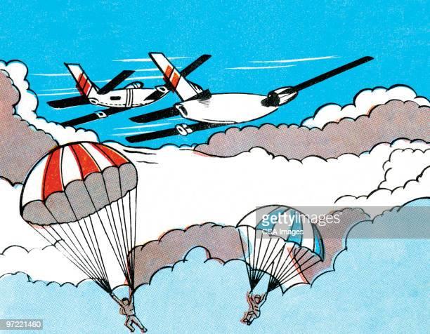 illustrations, cliparts, dessins animés et icônes de escape plan - saut en parachute