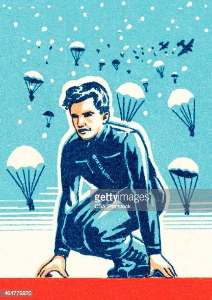 escaped man - paratrooper stock illustrations, clip art, cartoons, & icons