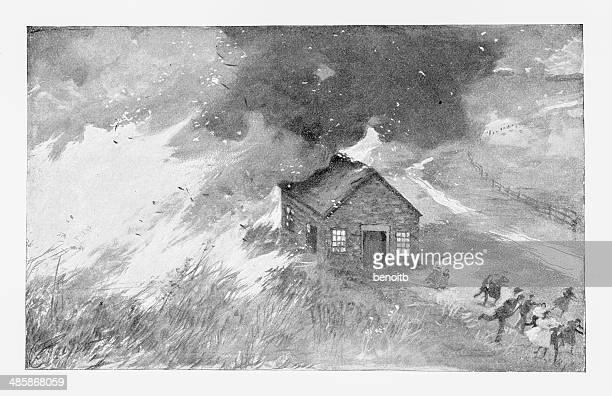 escaping the raging blaze - fire natural phenomenon stock illustrations