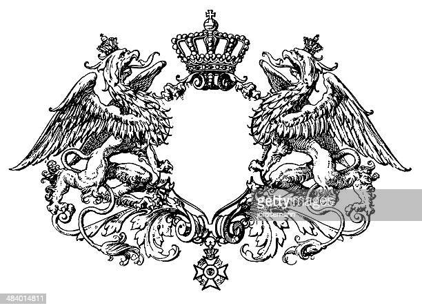 escutcheon with griffins - griffin stock illustrations, clip art, cartoons, & icons