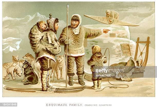 eskimo family - inuit stock illustrations