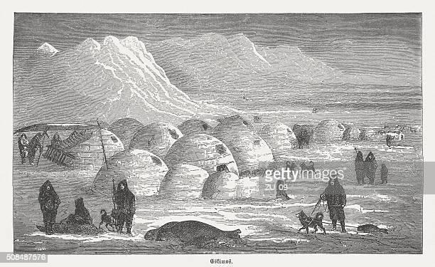 illustrations, cliparts, dessins animés et icônes de esquimaux en hiver, des gravures, publié en 1882 - igloo